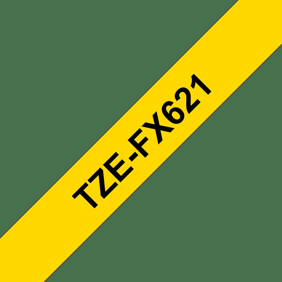 Brother TZe-FX621 - черен текст на жълта гъвгава лента, ширина 9mm