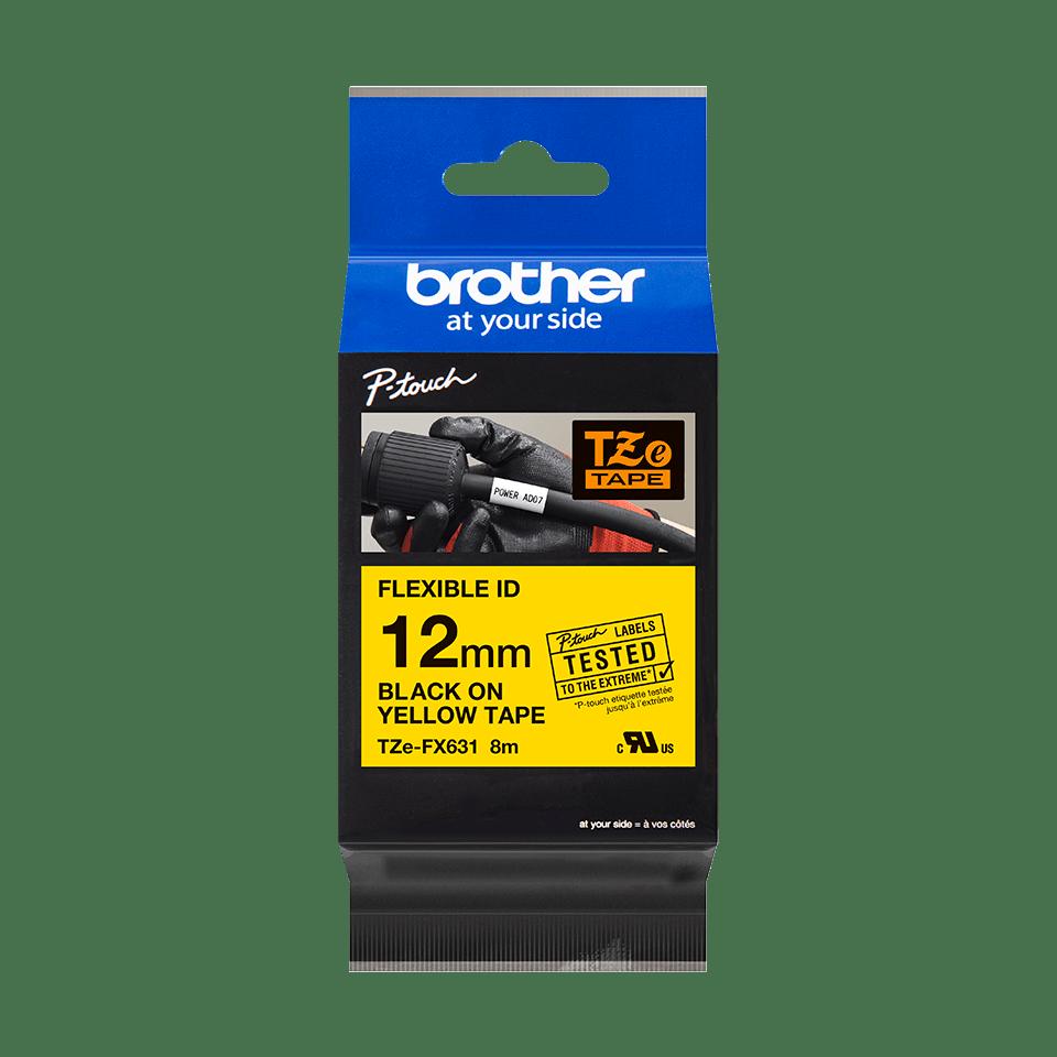 Brother TZe-FX631 - черен текст на жълта гъвгава лента, ширина 12mm 3