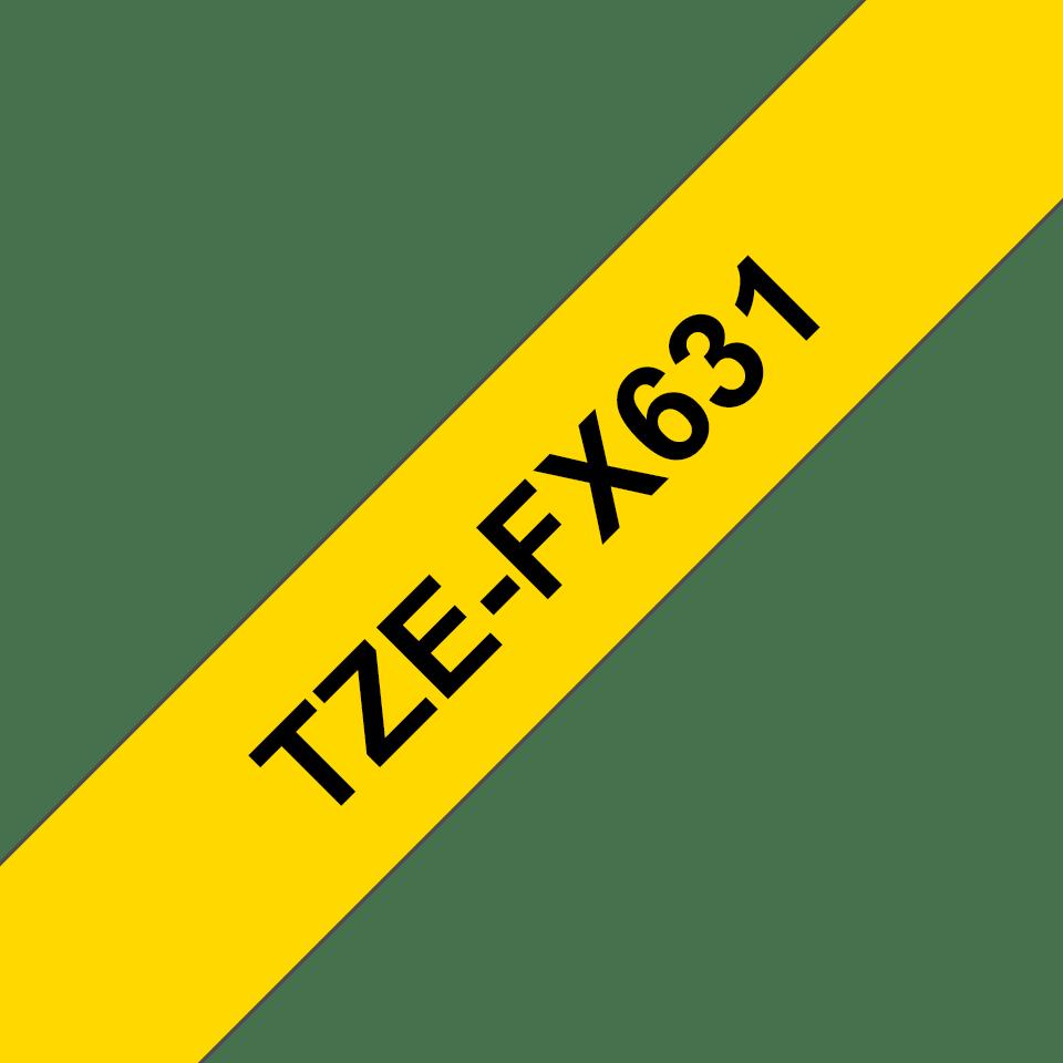 Brother TZe-FX631 - черен текст на жълта гъвгава лента, ширина 12mm