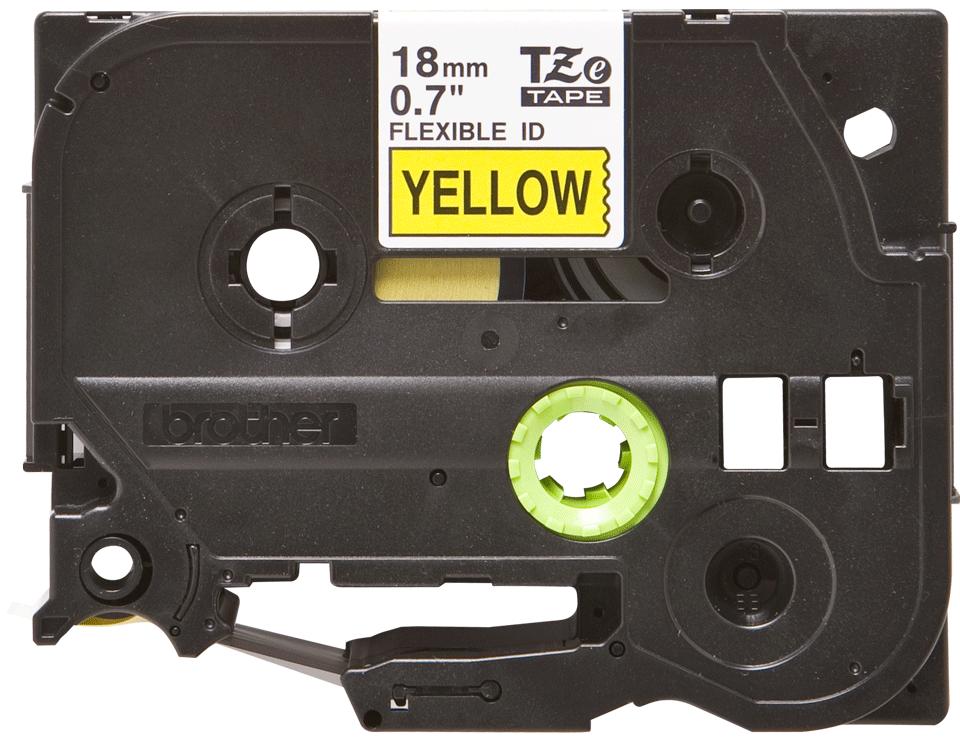Brother TZe-FX641 - черен текст на жълта гъвгава лента, ширина 18mm