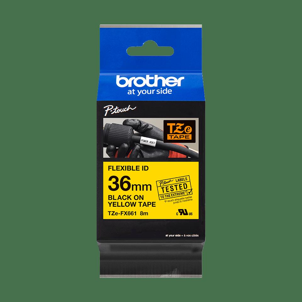 Brother TZe-FX661 - черен текст на жълта гъвгава лента, ширина 36mm 2