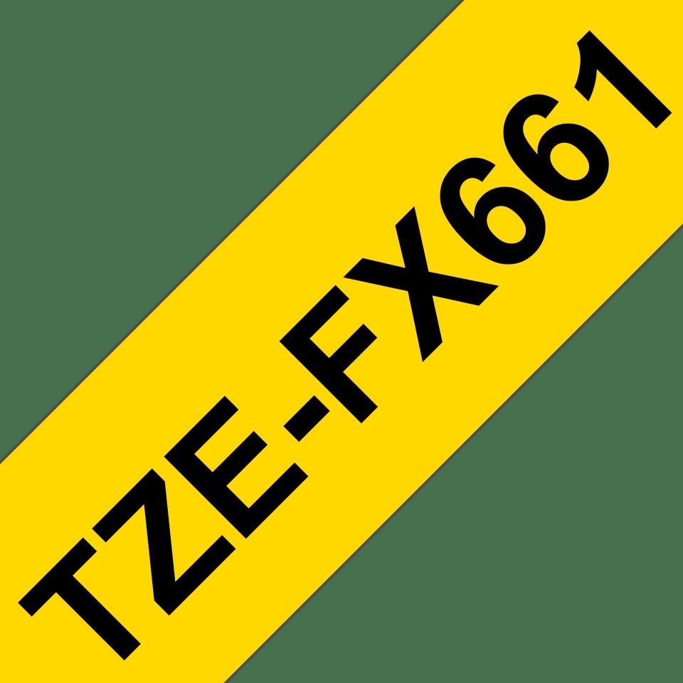 Brother TZe-FX661 - черен текст на жълта гъвгава лента, ширина 36mm