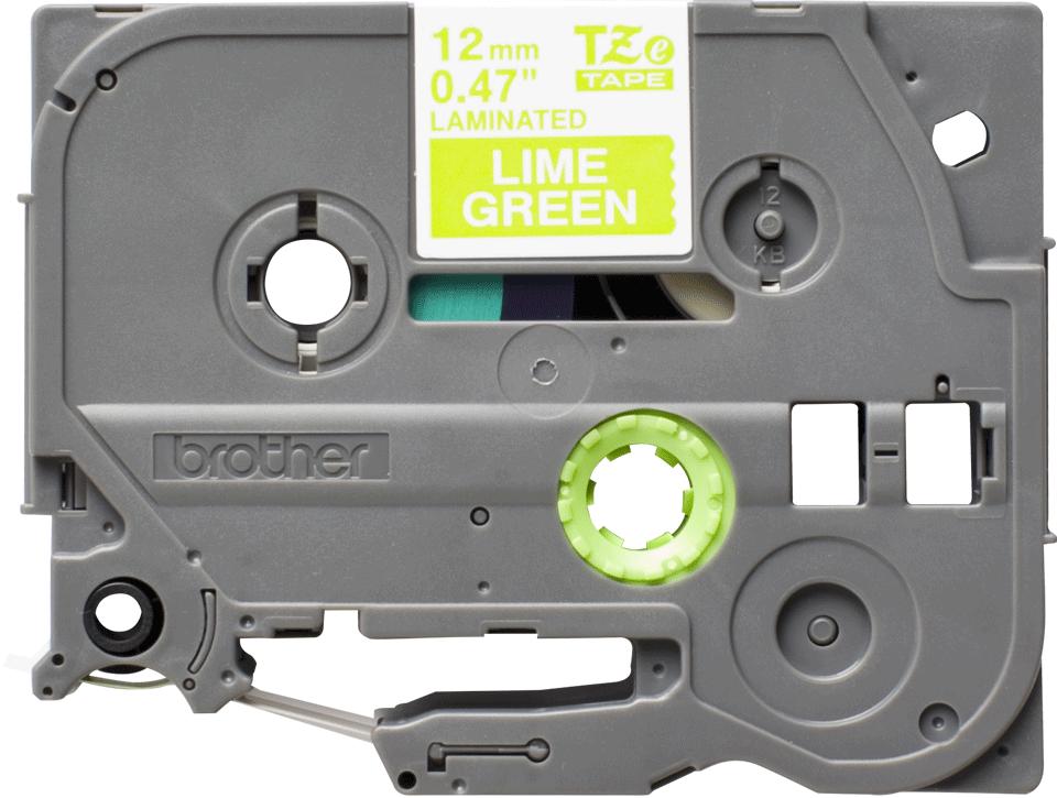 Genuine Brother TZe-MQG35 - бял текст на светлозелена матирана лента, ширина 12mm