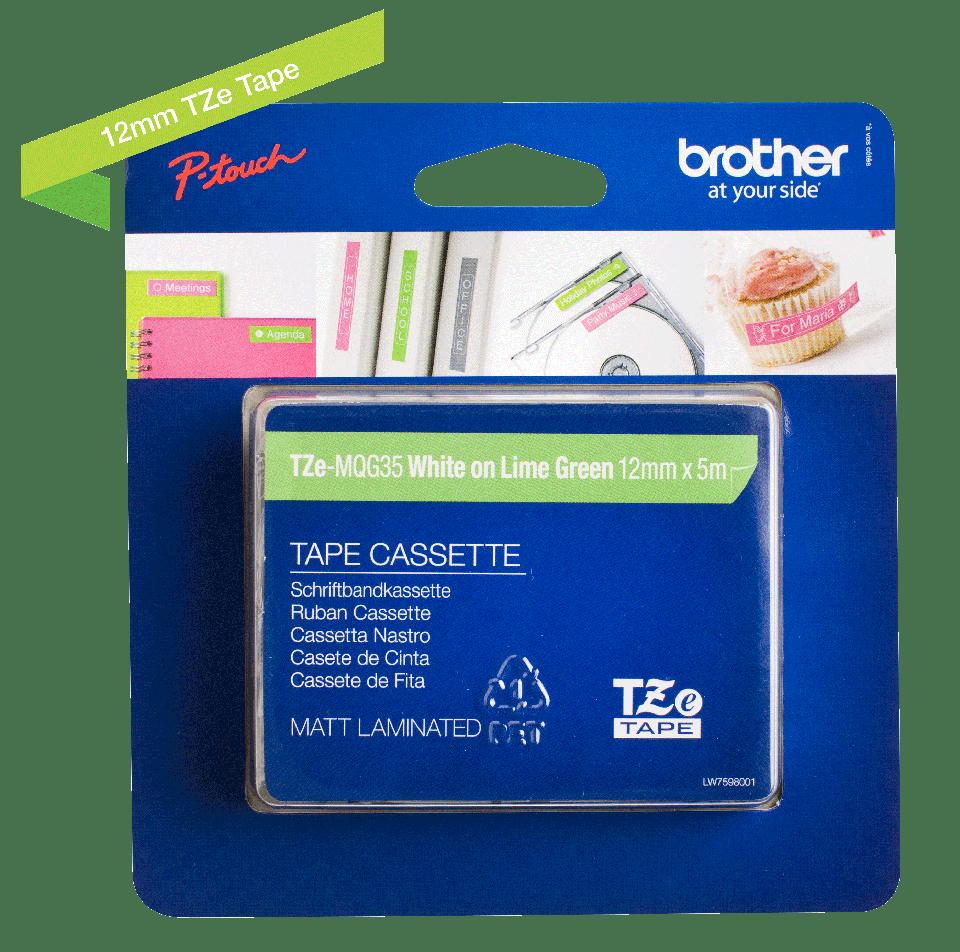 Genuine Brother TZe-MQG35 - бял текст на светлозелена матирана лента, ширина 12mm 2