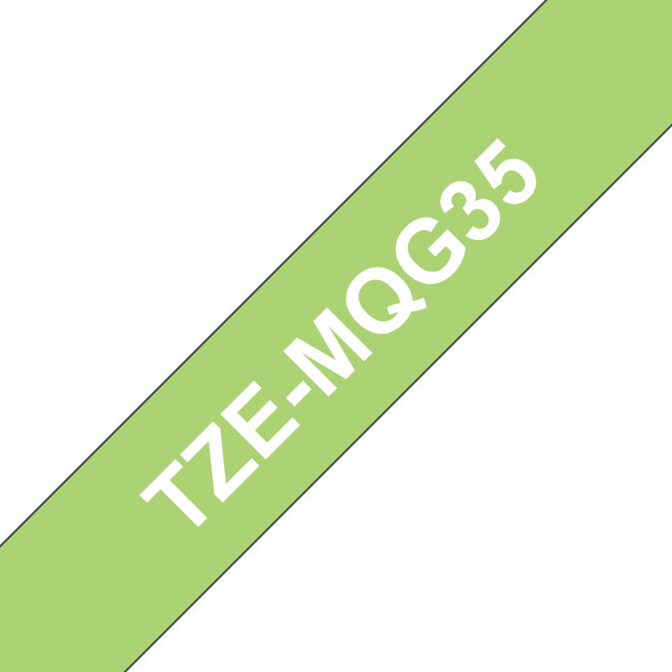 Genuine Brother TZe-MQG35 - бял текст на светлозелена матирана лента, ширина 12mm 3