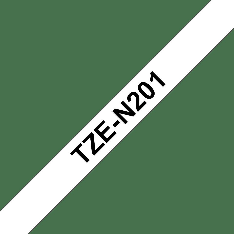 Brother TZe-N201 - черен текст на бяла неламинирана лента, 3,5mm