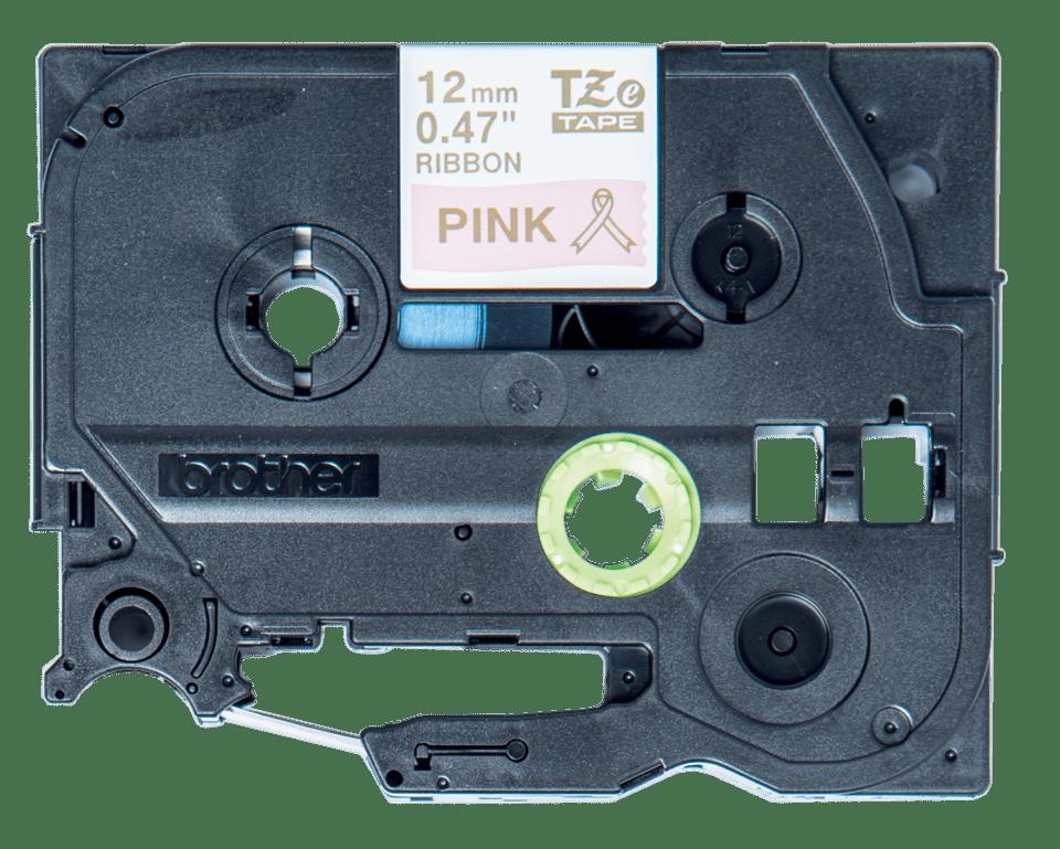 Оригинална касета Brother TZe-RE34, златен текст на розова лента за панделки, 12mm. 2