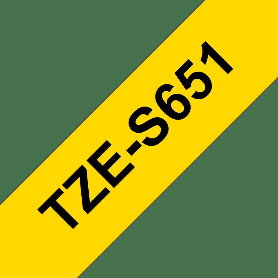 Brother TZE-S651 - черен текст на жълта лента, ширина - 24mm
